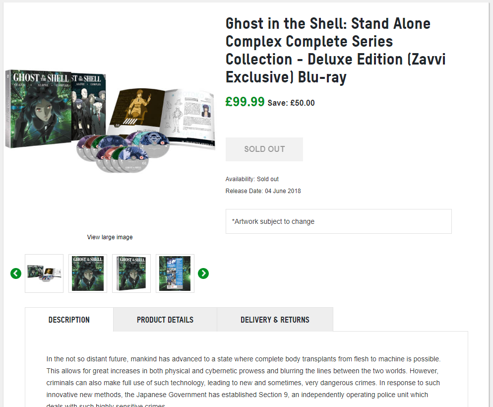Zavvi Lists Ghost In The Shell Stand Alone Complex Blu Ray Exclusive Deluxe Release Anime Uk News