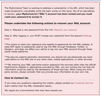 Myanimelist down after vulnerability discovered anime uk news you might also like stopboris Gallery