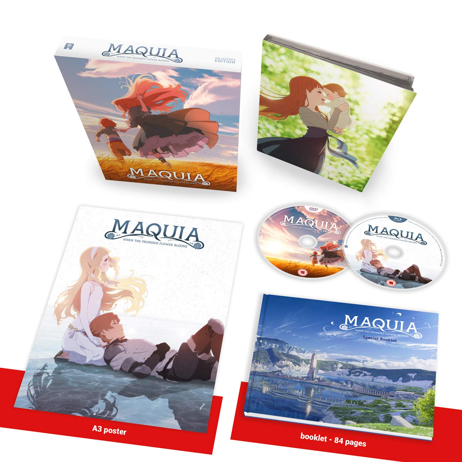 The Maquia Collector's Edition, featuring a digipack, an A3 replication of the theatrical poster, and a hardcover art book, contained in a rigid box.