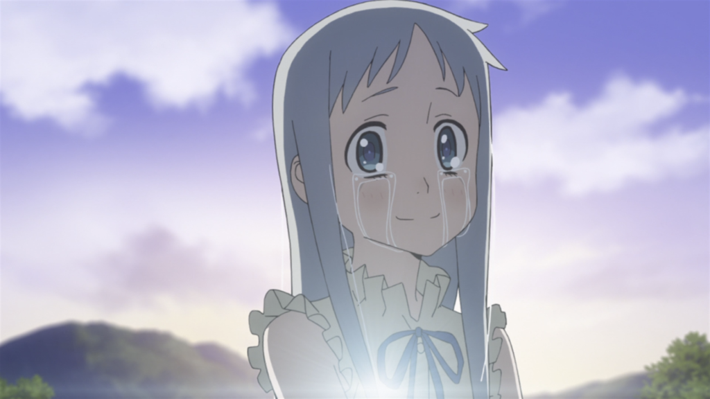 Menma from Anohana, with tears streaming from her eyes as she stands against the sunrise.