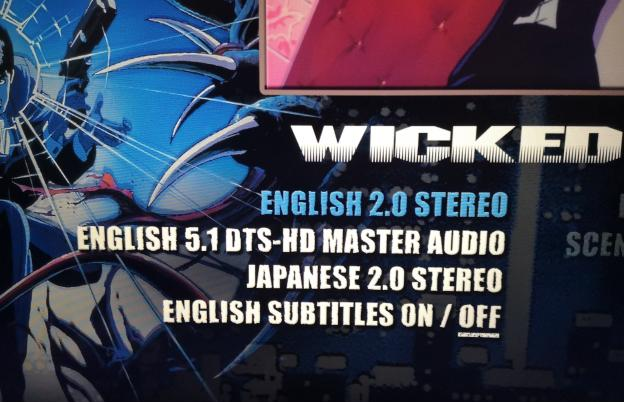 A photograph of the Wicked City Blu-ray language options, which features English 2.0 and 5.1 audio tracks, but only one English dub.